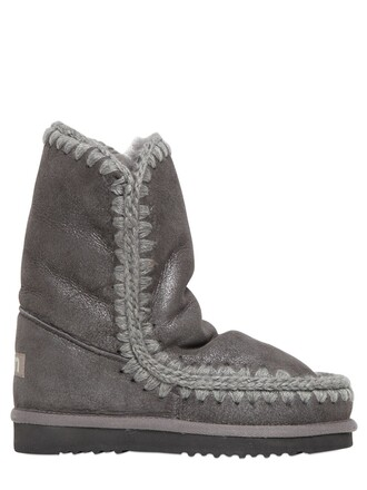 shearling boots metallic boots 24 grey shoes