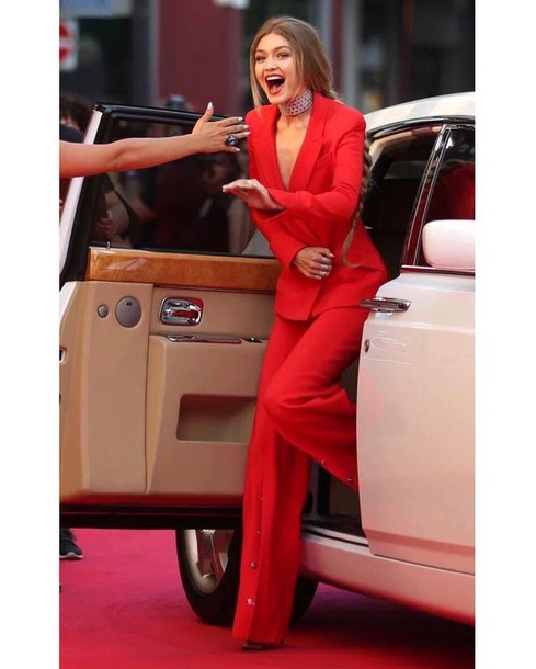 Jacket: all red outfit, gigi hadid, celebrity style, celebrity ...