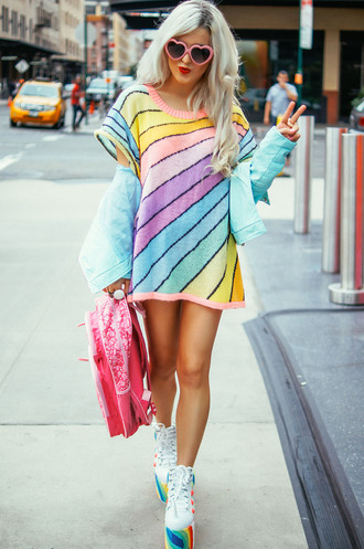 dress purple blue yellow pink rainbow tee dress stripes striped dress colorful colour block colorblock