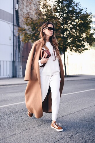 stella wants to die blogger sweater shoes coat bag sunglasses sneakers fall outfits white pants white sweater tumblr low top sneakers pants camel camel coat camel long coat long coat