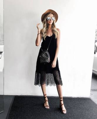 carly cristman blogger dress shoes sunglasses hat louis vuitton bag summer outfits black dress midi dress sandals