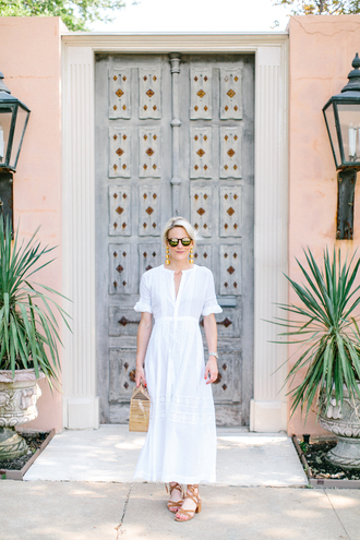 luella & june blogger sunglasses shoes white dress long dress maxi dress v neck dress jewels nude heels lace up heels