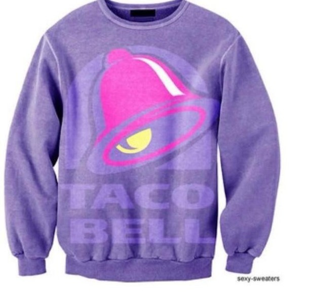 2153464bc02 sweater, taco bell, purple, sweatshirt, pink, warm sweater ...