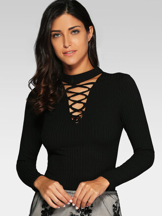top black knitwear long sleeves criss cross lace up trendy fashion casual style zaful