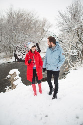kelsey bang blogger hat coat sweater pants shoes gloves wellies winter outfits beanie red coat