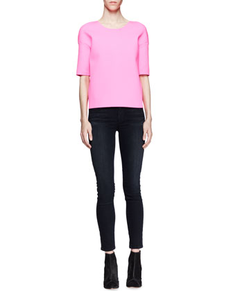 J Brand Ready to Wear Auden Scuba-Fabric Top & Mid-Rise Impression Skinny Jeans - Neiman Marcus