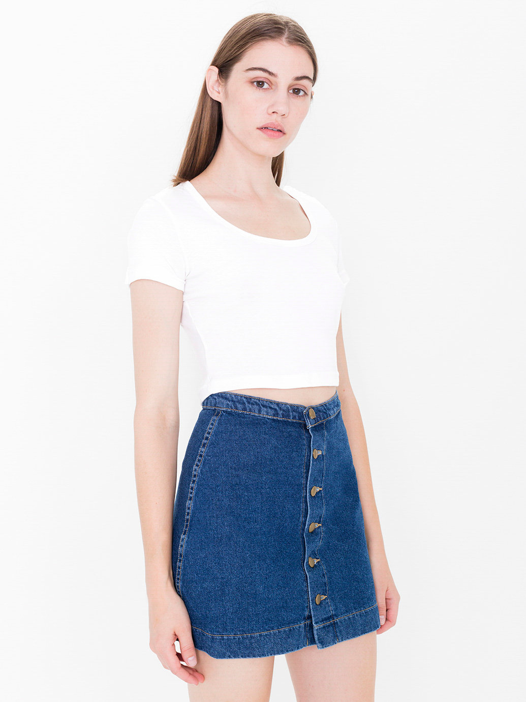 button front denim a line skirt american apparel