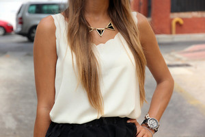 shirt blogger tumblr tank top white cream gold black shorts summer statement necklace
