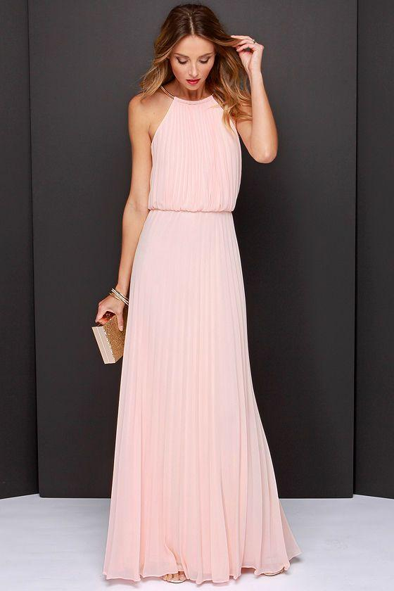 Light Pink Evening Dresses 2016 Jewel Collar Sash Pleats Chiffon ...