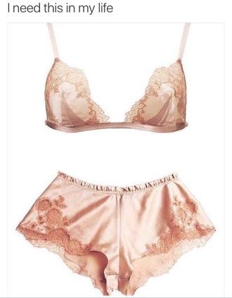 underwear laced pink cute bra shorts lingerie set