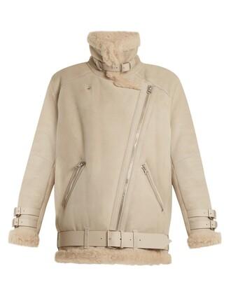 jacket shearling jacket oversized cream