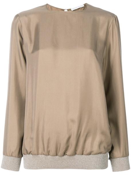 Fabiana Filippi - crew neck sweatshirt - women - Silk - 40, Nude/Neutrals, Silk