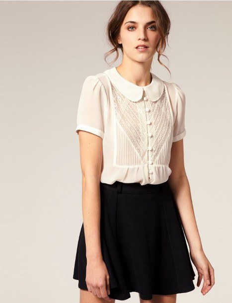 7c185668c7714 blouse lace white blouse collar short sleeve peterpan collar peter pan  collar peter pan collar blouse
