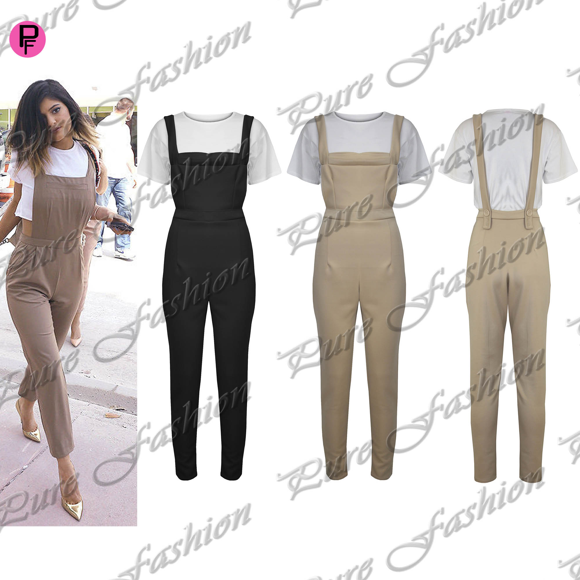 Women Celebrity Dungaree Pinafore Crop Top Celeb Set Jumpsuit Playsuit | eBay