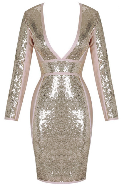 Long Sleeve Plunge Sequin Bandage Dress Gold