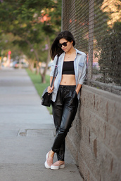 fake leather,shirt,top,pants,bag,shoes,sunglasses,jewels