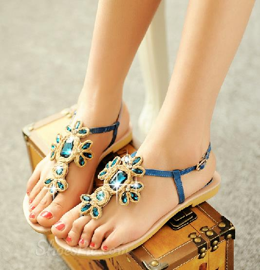 Gorgeous Rhinestone Patent Leather Flat Sandals