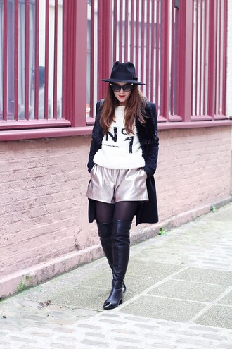 elodie in paris blogger shorts hat metallic thigh high boots winter outfits white sweater