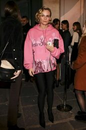 sweater,hoodie,boots,diane kruger,oversized,pink,fashion week 2018,paris fashion week 2018,shoes