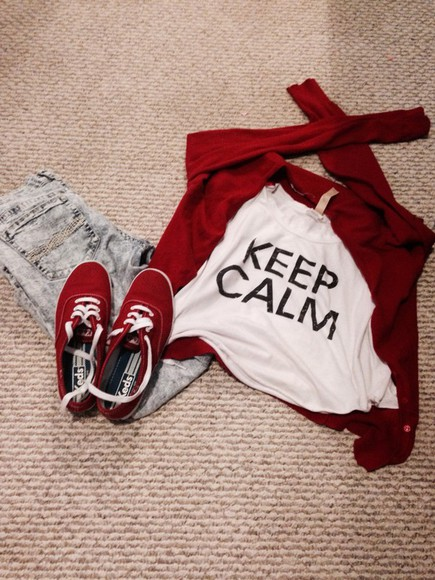 acid wash keep calm keds leather baseball red white shoes red jeans style sweater