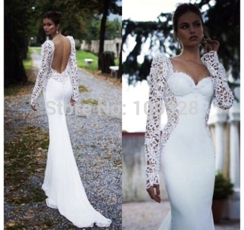 Aliexpress.com : Buy Custom Made Mermaid Floor Length Court Train Full Sleeve with Lace Sweetheart Backless Prom Dresses 2014 New Design from Reliable dress wedding suppliers on Rose Wedding Dress Co., Ltd