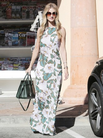 dress maxi reformation reformation dress floral maxi dress maxi dress floral dress high neck summer dress summer outfits bag handbag green bag sunglasses round sunglasses rosie huntington-whiteley model model off-duty celebrity style celebrity