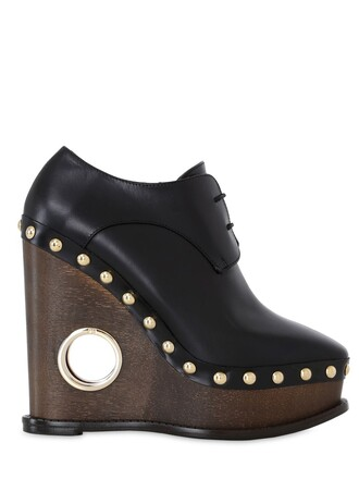studded wedges lace leather black shoes