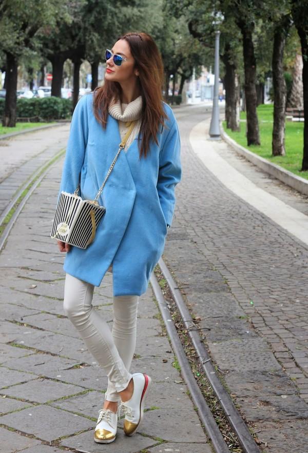 marie zamboli sweater bag pants jewels sunglasses shoes coat