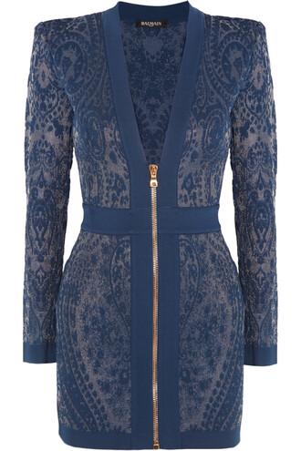 dress mini dress mini knit paisley blue