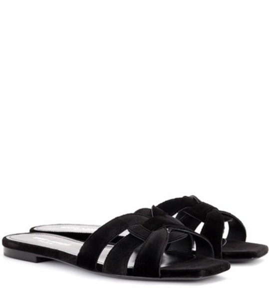 Saint Laurent sandals velvet black shoes