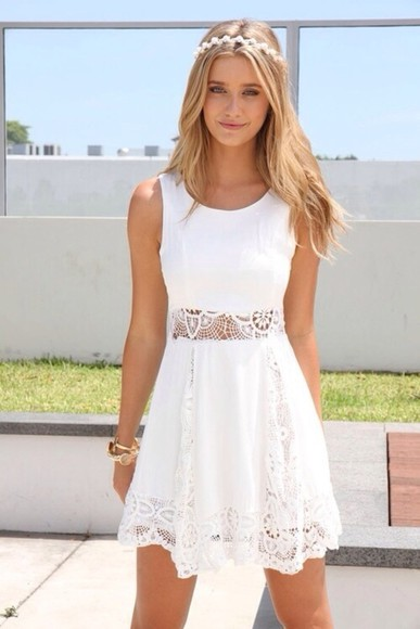 california skater crochet daisy flower crown blonde beach open flowy scoopneck dress white cute dress white dress summer dress graduation dresses graduation dress graduation lace dress skater dress straps, short dress pattern floral sleeveless