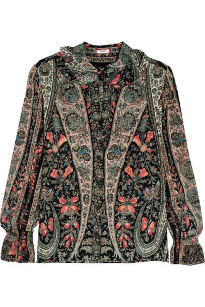 Vilshenko - Emma Ruffled Printed Washed-silk Blouse - Black