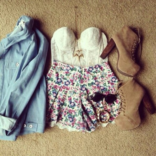 shirt shorts shoes blouse flower shorts dress top jewelry cardigan