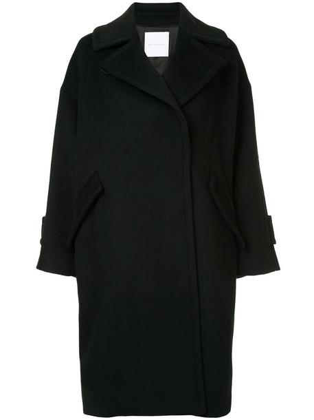 coat oversized double breasted women black wool