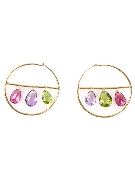 Marie Helene De Taillac women earrings hoop earrings gold grey metallic jewels