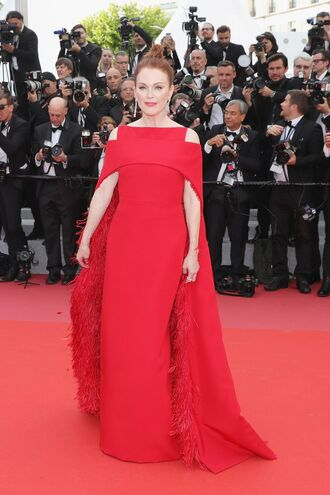 dress red dress red red carpet dress cannes julianne moore earrings jewels