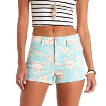 FLORAL PRINT HIGH-WAISTED DENIM SHORTS on Wanelo