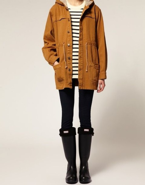 Jacket stripes parka cute sand beige tan rust mustard rainy tan coat tan jacket tan ...