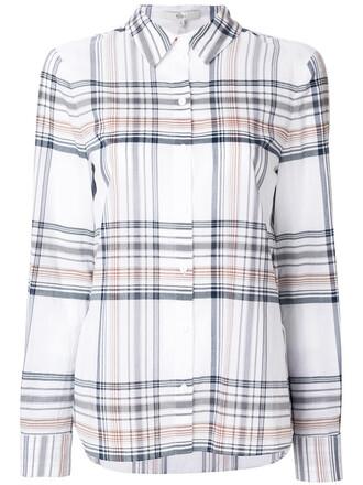 shirt women white cotton tartan top