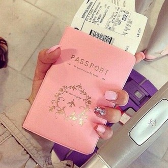 jewels passport cover phone cover cool luxury pink girly fly airport airplane gold nails perfect