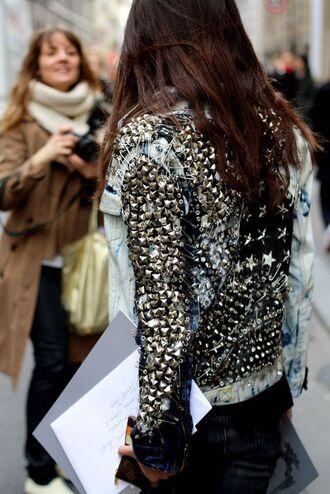jacket embellished denim studded jacket studded studs denim jacket blue jacket