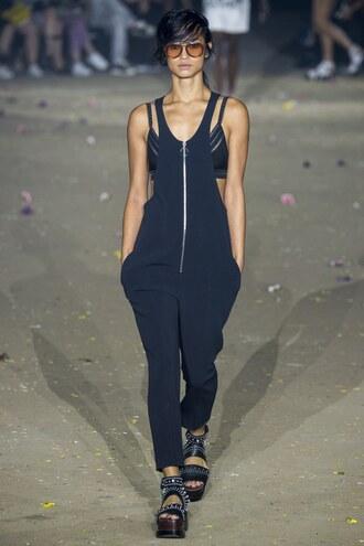 jumpsuit black pants bra runway model ny fashion week 2016 3.1 phillip lim phillip lim