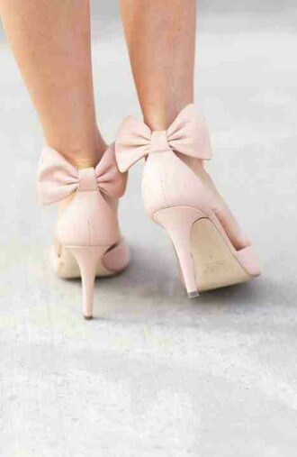 shoes bow blush pink wedding shoes heels