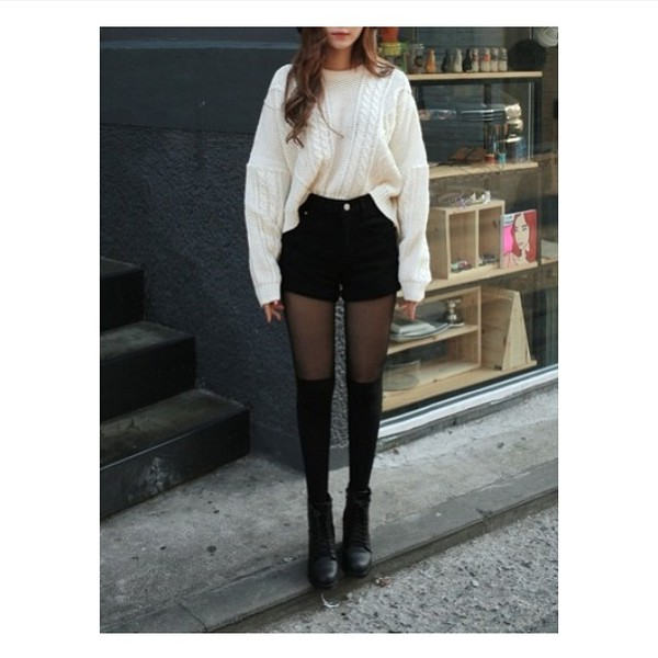 sweater pullover white black shorts hight waisted shorts ulzzang korean fashion