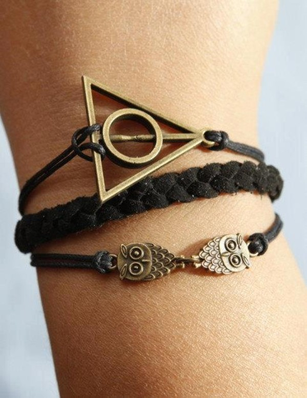 jewels bracelets owl harry potter and the deathly hallows harry potter leather bracelet