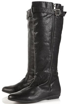 Denver black high leg buckle boots