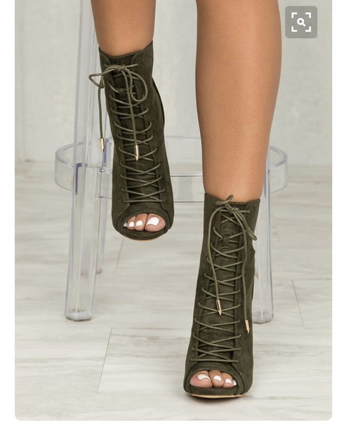 bd1c51ef45407f shoes, boots, heels, olive green, open toes, lace up, tie up heels ...