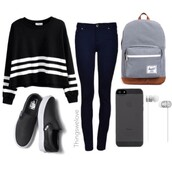 black and white,striped sweater,oversized sweater,dark wash jeans,high waisted jeans,blue backpack,jeans