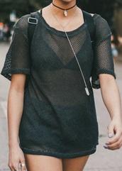 top,mesh,fishnet top,black