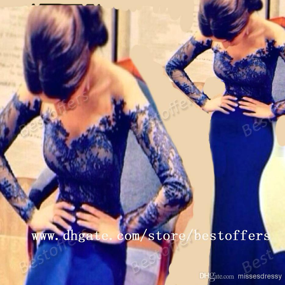 Cheap Sexy Evening Dresses - Discount Popular Sexy Royal Blue Lace Long Sleeve Hot Online with $119.38/Piece | DHgate